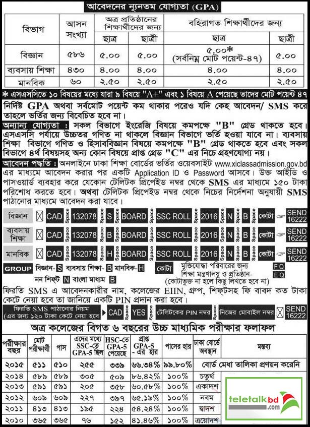 National Ideal College HSC Admission Notice